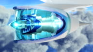 Commercial jet airplane flies above clouds with fly through engine video