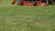 Commercial Lawn Mower Cutting Grass - Low Angle View video