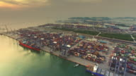 4K,Commercial shipyard aerial video