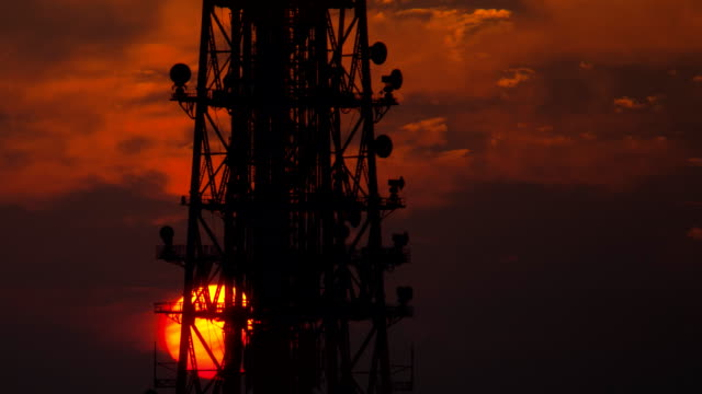 Communication Tower Sunset Time Lapse video