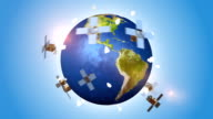 Communications Satellites Orbiting With Earth video