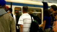 MS Commuters Boarding Subway Train (4K/UHD to HD) video