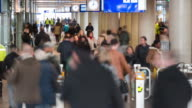 4K TIME LAPSE: Commuters in train station video