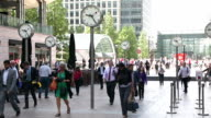 Commuters rushing to work in Canary Wharf, London video