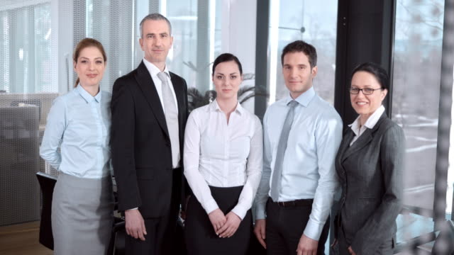 SLO MO DS company team portrait in conference room video