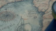 Compass and a map on the table video