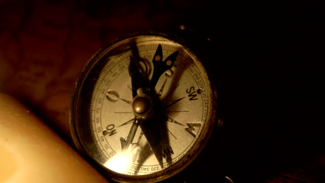 A compass and the candle on the map video
