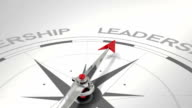 Compass pointing to leadership video
