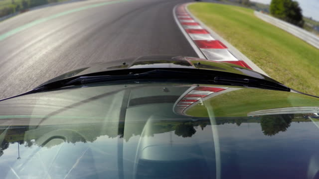 Competitive sports car driving, view of windshield video