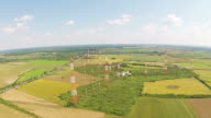 Complex installation  of radio communications antennas for long distance data broadcasting, aerial rise above video