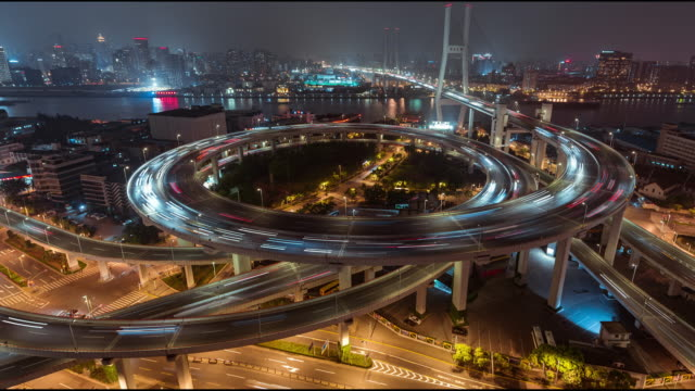 T/L WS HA PAN Complex Interchange at Night / Shanghai, China video