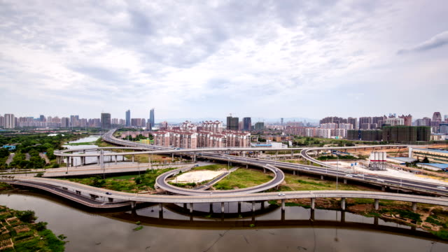 Complex road system - very large intersection, time-lapse photography, from dusk to night video
