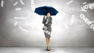 Composite image of businesswoman holding an umbrella video