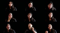 Composite of facial expressions by young adult woman video