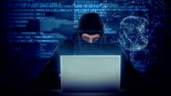 Composite video of hacker using laptop video