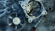 Composition of car parts . Mechanic art video