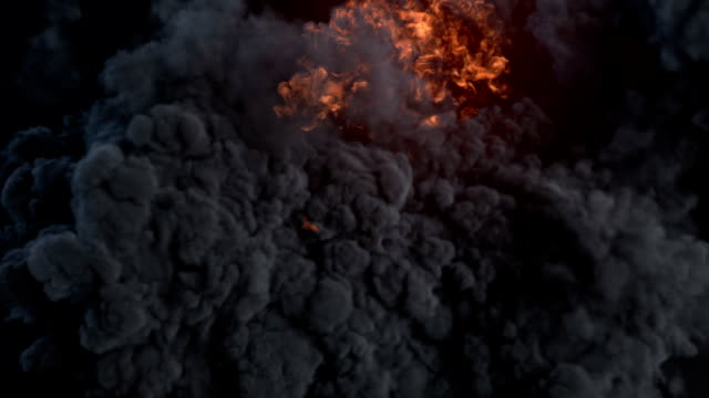 Composition with large explosions in dark 3d rendering video