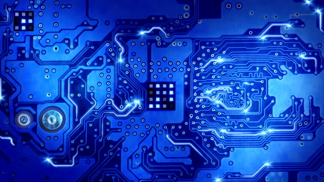 computer circuit board blue loopable background video