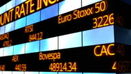 Computer generated animation of scrolling text running on stock market video