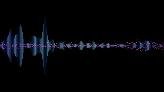 computer generated equalizer bars in waveform audio spectrum video