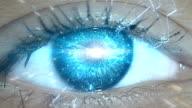 Réseau informatique dans les yeux. informations de voyage - Vidéo