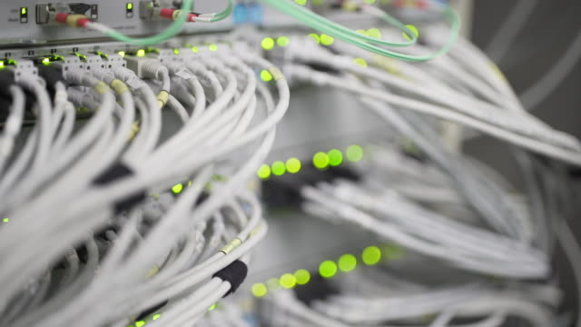 Computer Network Switch With Blinking Lights Close-up (UHD) video