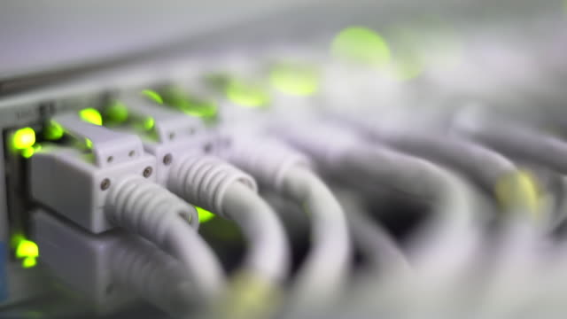 Computer Network Switch With Blinking Lights Close-up (4K/UHD) video