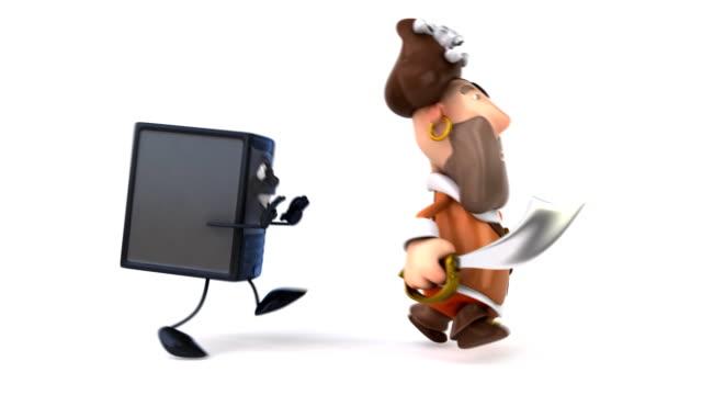 Computer running after a pirate video