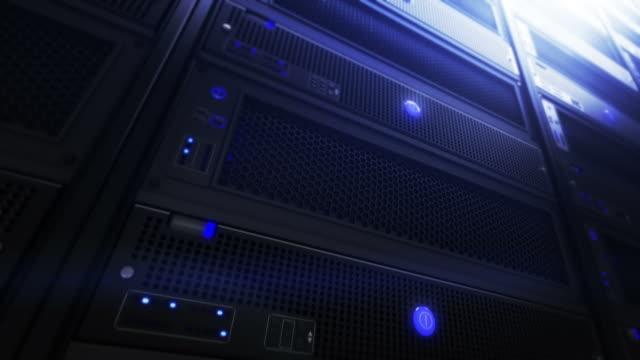 Computer servers, detail shot. Loopable. Blue. video