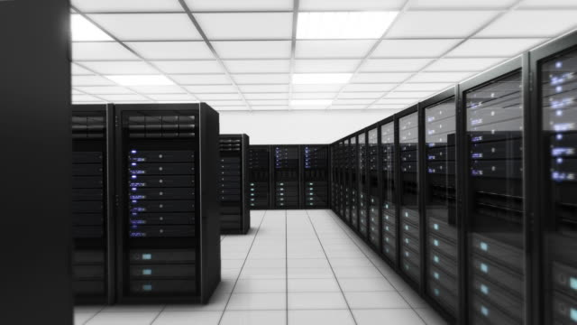 Computer servers in a Data Center. Loopable. Blue. Technology Background. video
