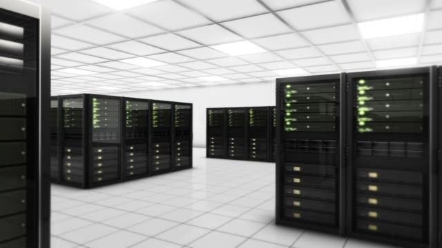 Computer servers in a Data Center. Loopable. Green. video