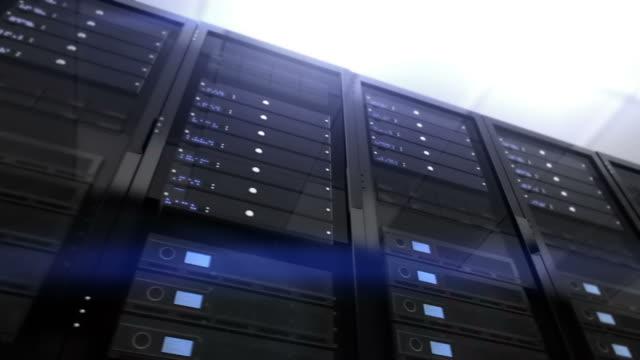 Computer servers rack, detail shot. Loopable. Blue. video