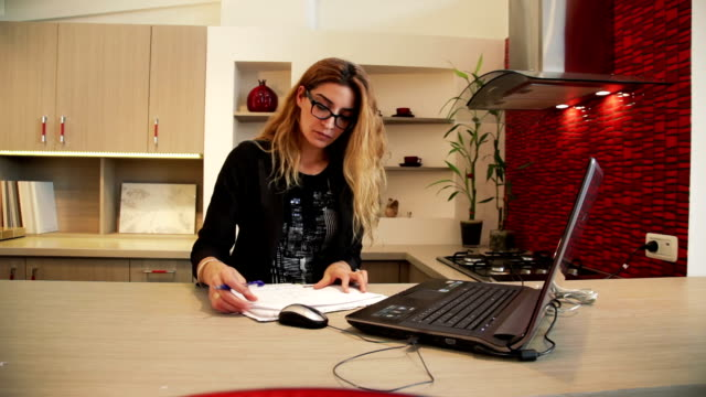 Concentrated Woman working with documents video