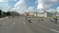 Concept bike and a healthy lifestyle. Bicycle parade in Moscow on the garden ring. Aerial view video