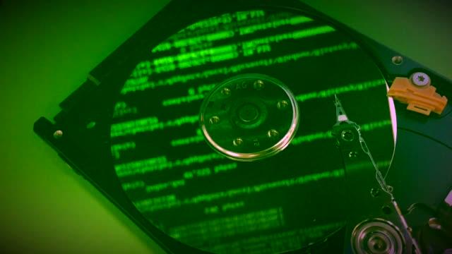 concept data running on hard disk video