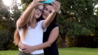 Concept happy family, daughter and mother, selfie video