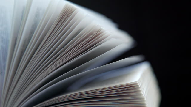 Concept reading, books, flipping books. Opened book on dark background video