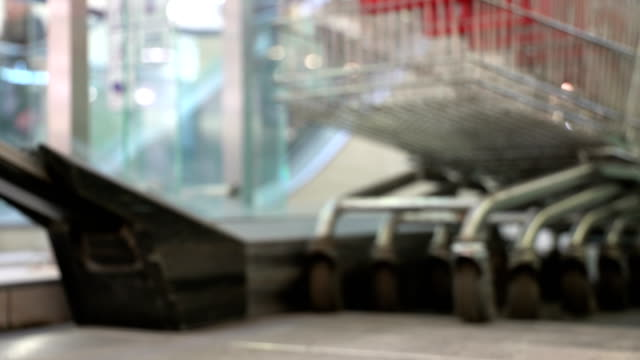 Concept shopping mall. Train of trolley. Shopping trolley as shopping symbol. Bottom view in blur video