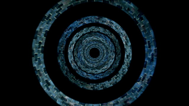 Conceptual Time Tunnel of Concentric Spinning Circles, with Luma Matte video