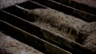 Concrete is spreading over reinforcing steel bars video