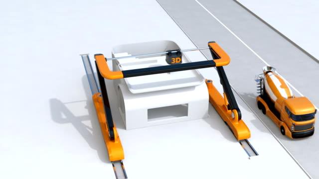 Concrete mixer trucks and industrial 3D printer video