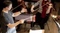 Conductor overhead shot video