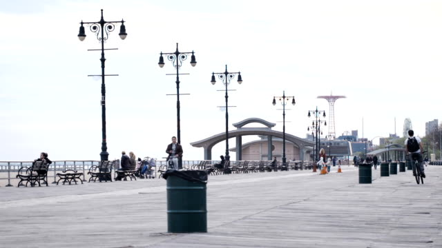 Coney Island Boardwalk afternoon establishing shot video