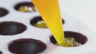 Confectioner chocolate filling body filling. Orange filling video