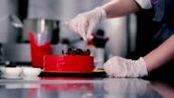 Confectioner sprinkles the top of the cake. video