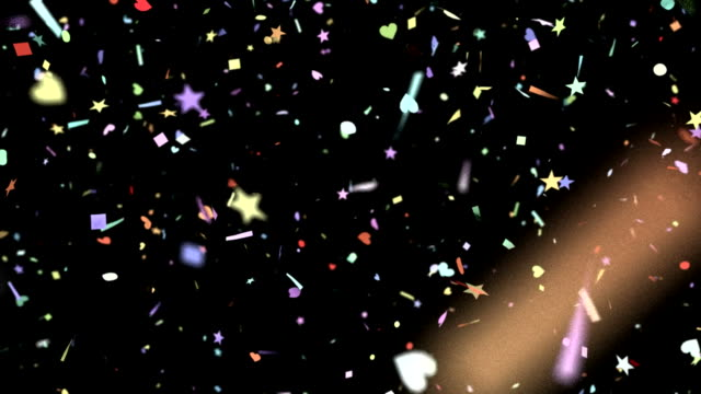 Confetti shapes falling slow motion DOF loop on black video