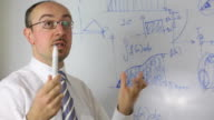 Confident businessman doing a presentation on whiteboard video