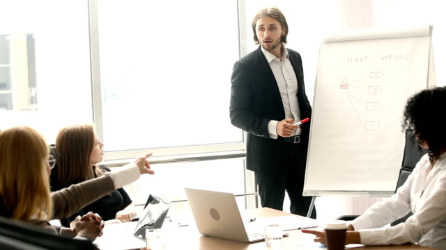 Confident businessman giving presentation on flipchart to colleagues in boardroom video
