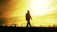 Confident Businessman Hopeful Future Sunset Nature Silhouette video