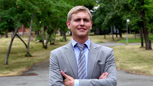 Confident businessman video